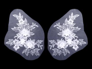 刺繍・レース ペア モチーフ(D3251)