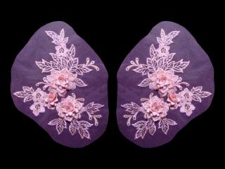 刺繍・レース ペア モチーフ(D3255)