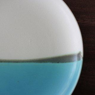青い海7寸皿
