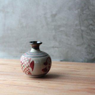 丸壷(赤絵:格子紋)