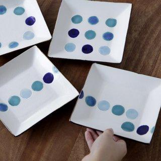 ドット角皿(ブルー)