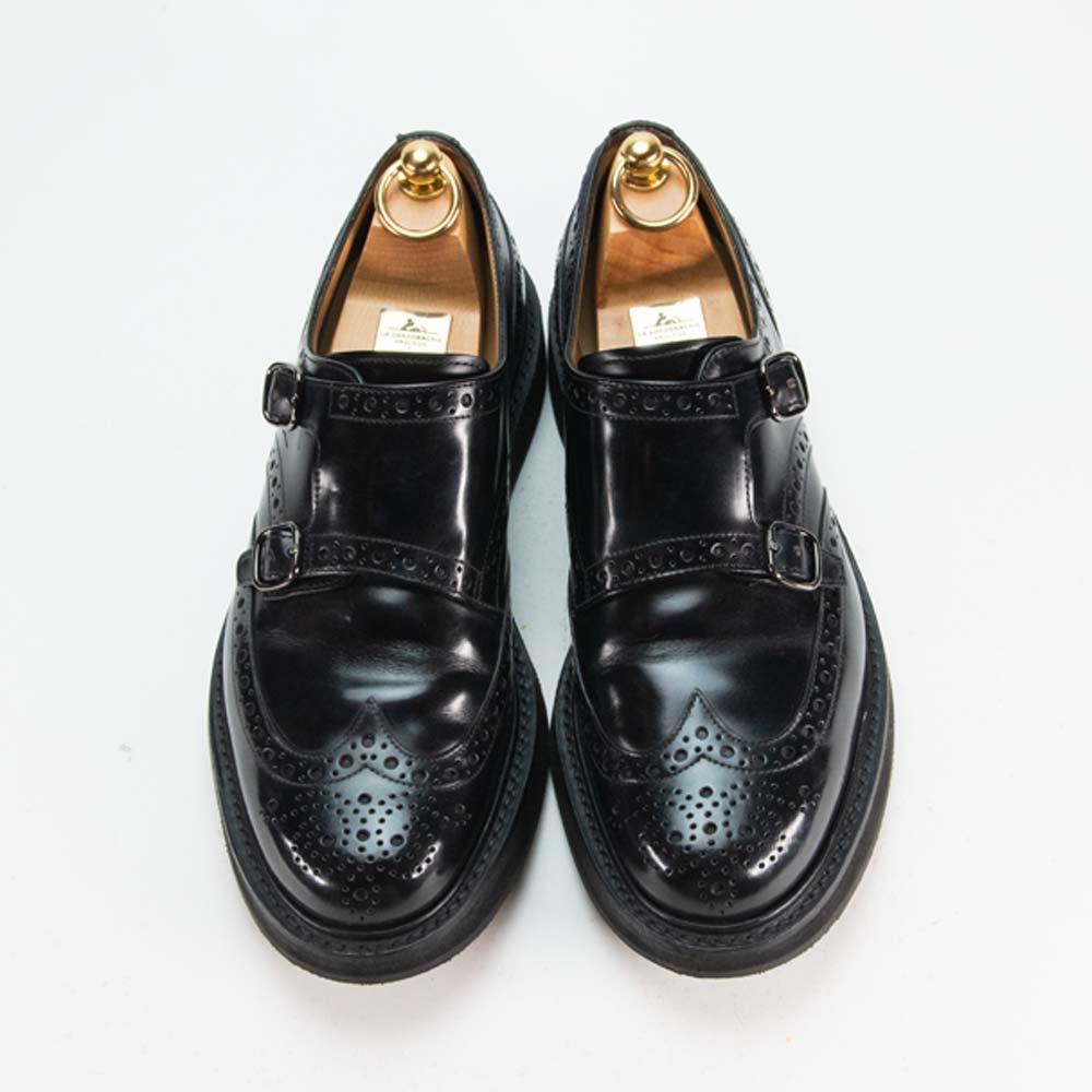 チャーチ NETTLETON【ネトルトン】 ダブルモンク ウィングチップ  フルブローグ ブラック レアモデル サイズ70F