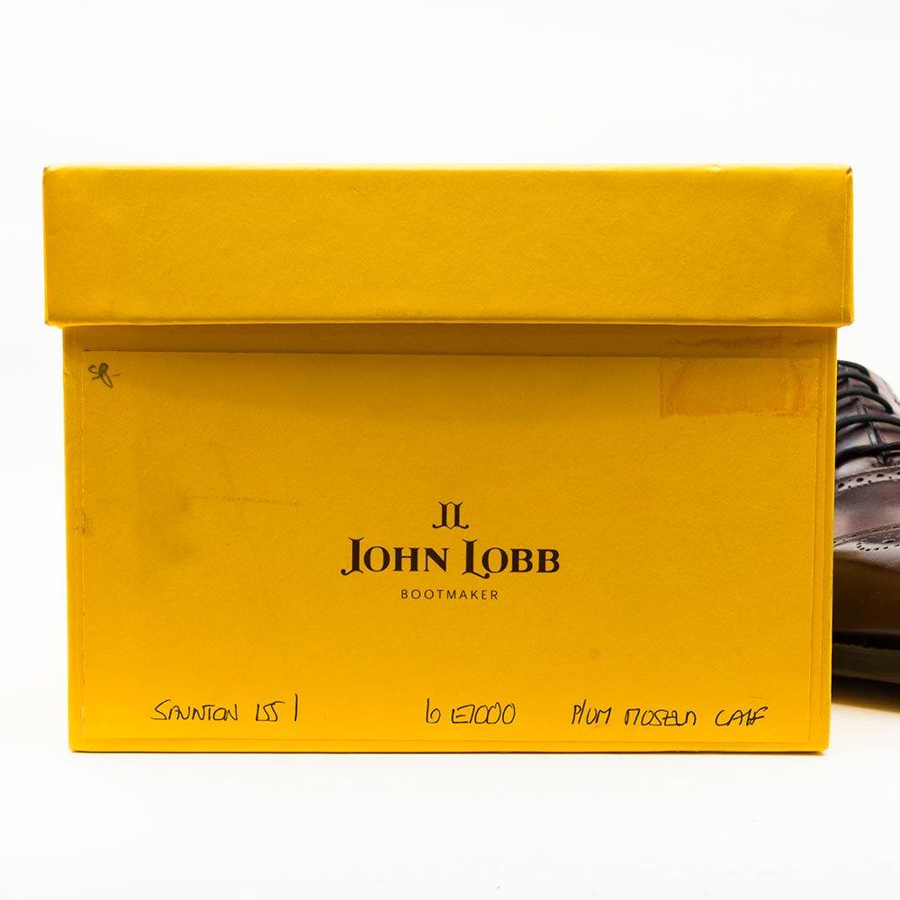 ジョンロブ SAUNTON【ソーントン】内羽根セミブローグ プラム ミュージアムカーフ サイズ6E