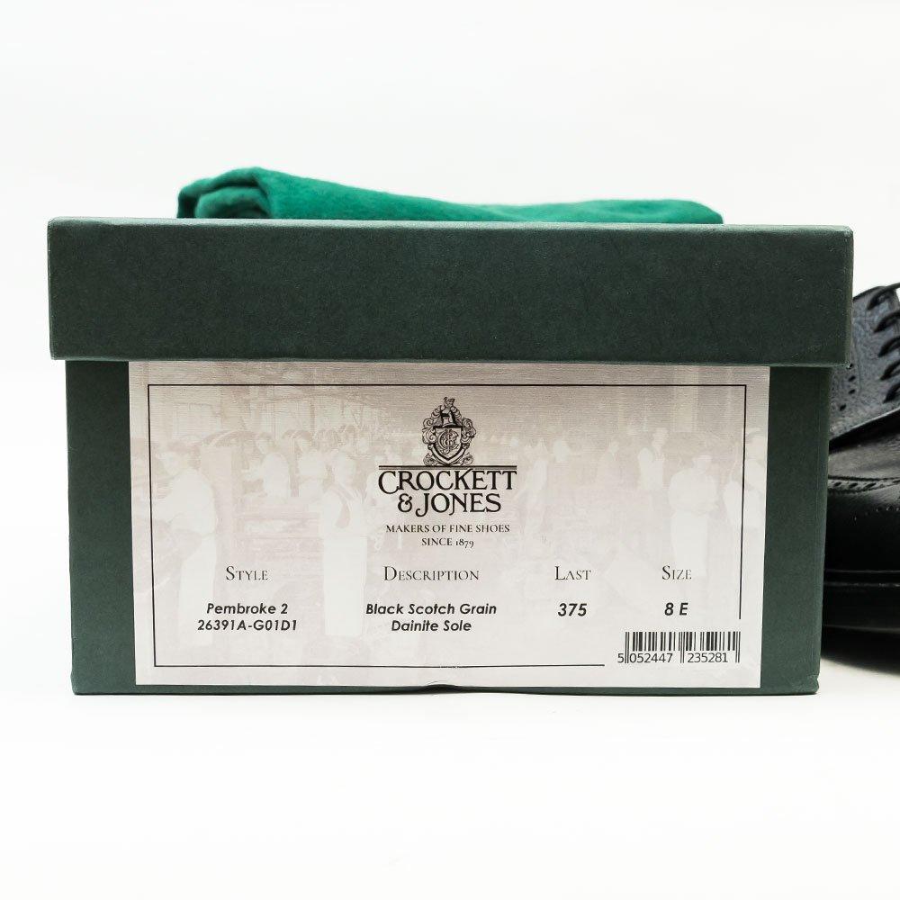 クロケット&ジョーンズ PEMBROKE2(ペンブローク2)ロングウイング ウイングチップ ブラック グレインレザー サイズ8E