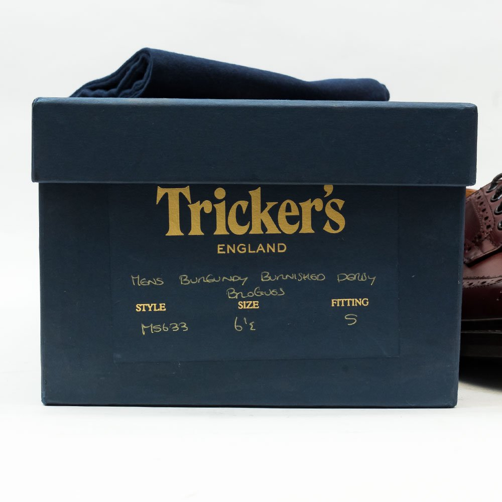 トリッカーズ M5633 バートン(BOURTON)ウィングチップ バーガンディ サイズ6.5Fitting5