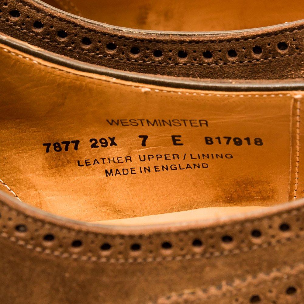 クロケット&ジョーンズ WESTMINSTER(ウェストミンスター)セミブローグ スエード ダークブラウン Paul Stuart別注 サイズ7E