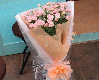 ピンクスプレーバラの花束6〜8本 お誕生日 お祝い プレゼント ギフトに