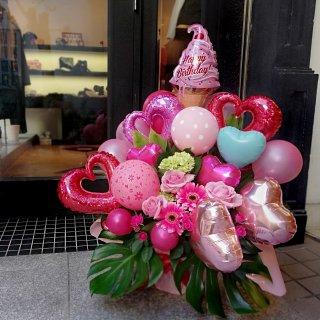 【飯塚生花】8000円おまかせ生花バルーンアレンジ(バルーン多め)
