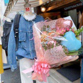 【飯塚生花】5000円おまかせ生花バルーン花束(バルーン少なめ)