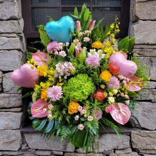 【飯塚生花】10000円ハートバルーン付き生花アレンジ