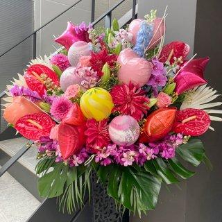 【スタンド1段】30000円バルーン付きおまかせ生花スタンド
