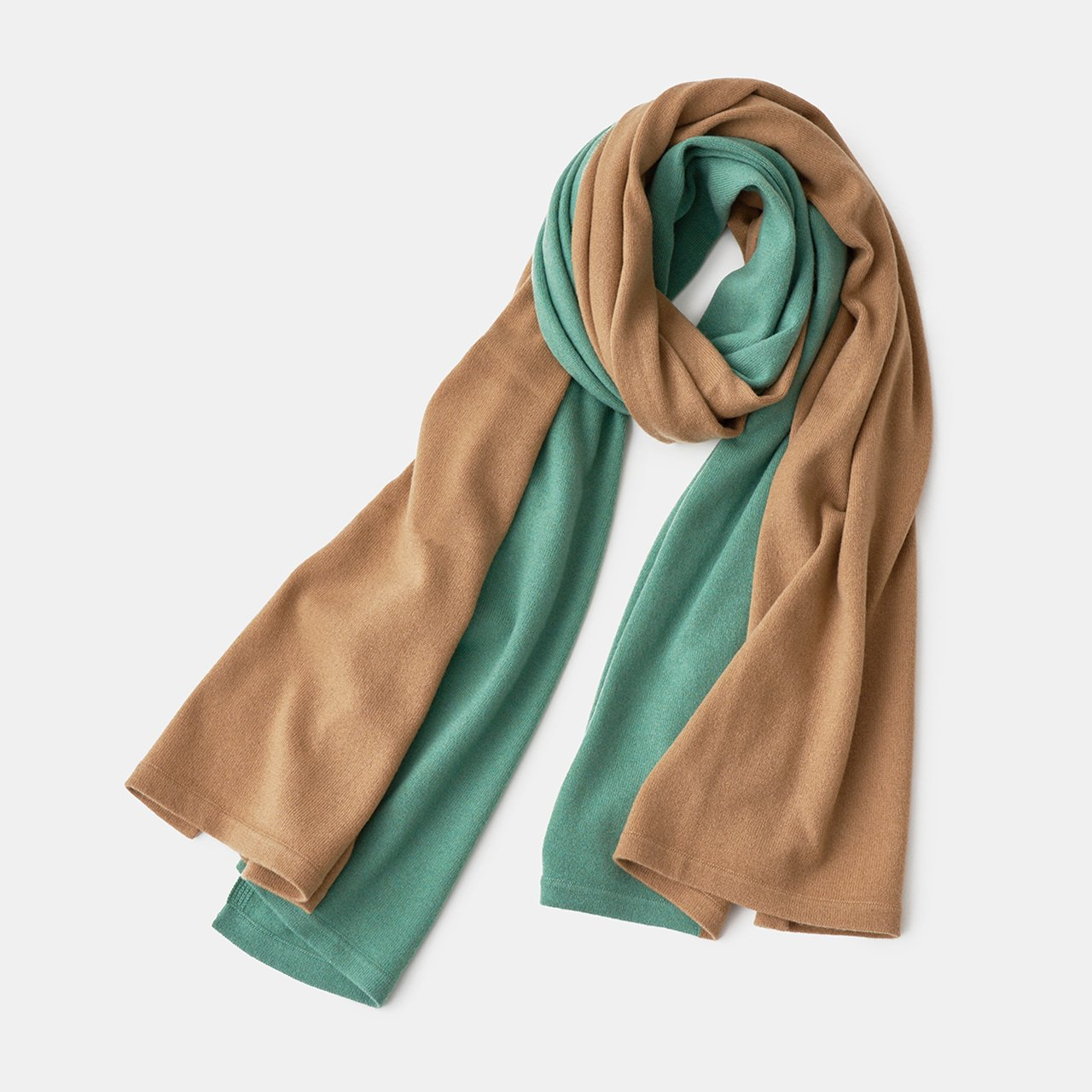 CASHMERE BI‐COLOR STOLE<BR>APPLE GREEN × CARAMEL