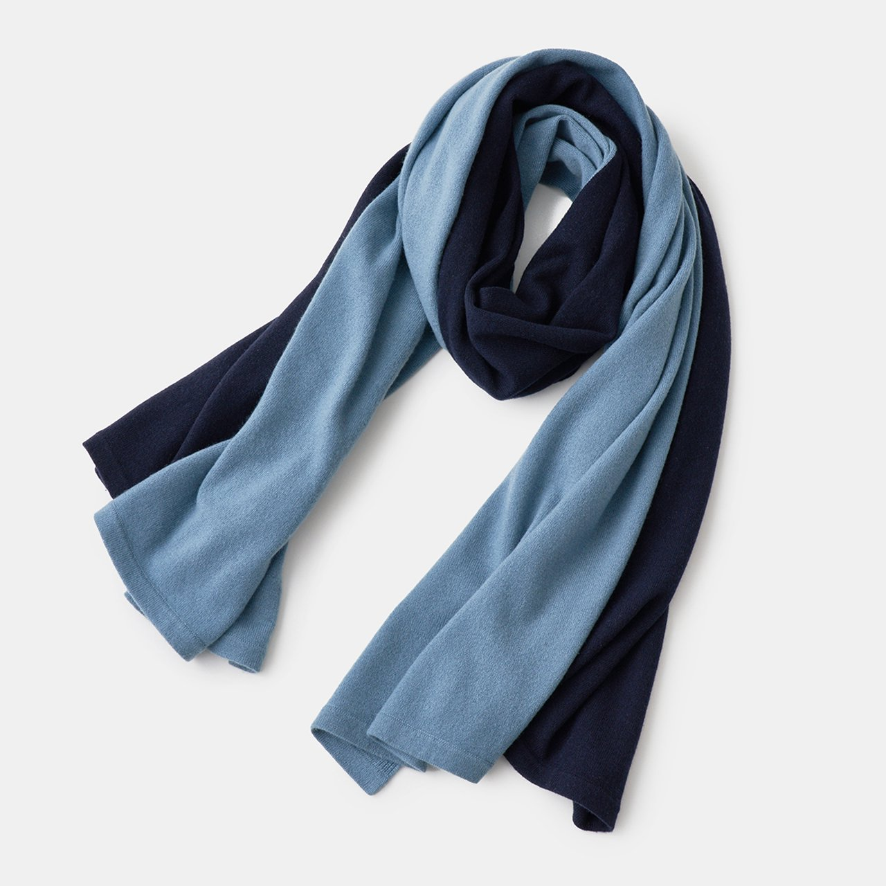 CASHMERE BI‐COLOR STOLE<BR>SAX GREY × DARK NAVY