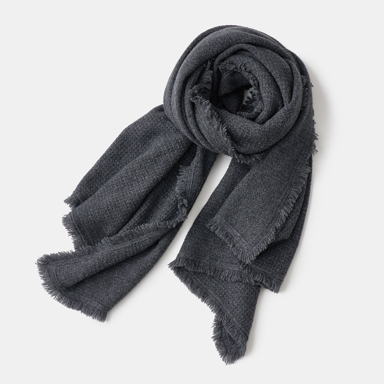 CASHMERE Fringe STOLE<BR>CHARCOAL GRAY