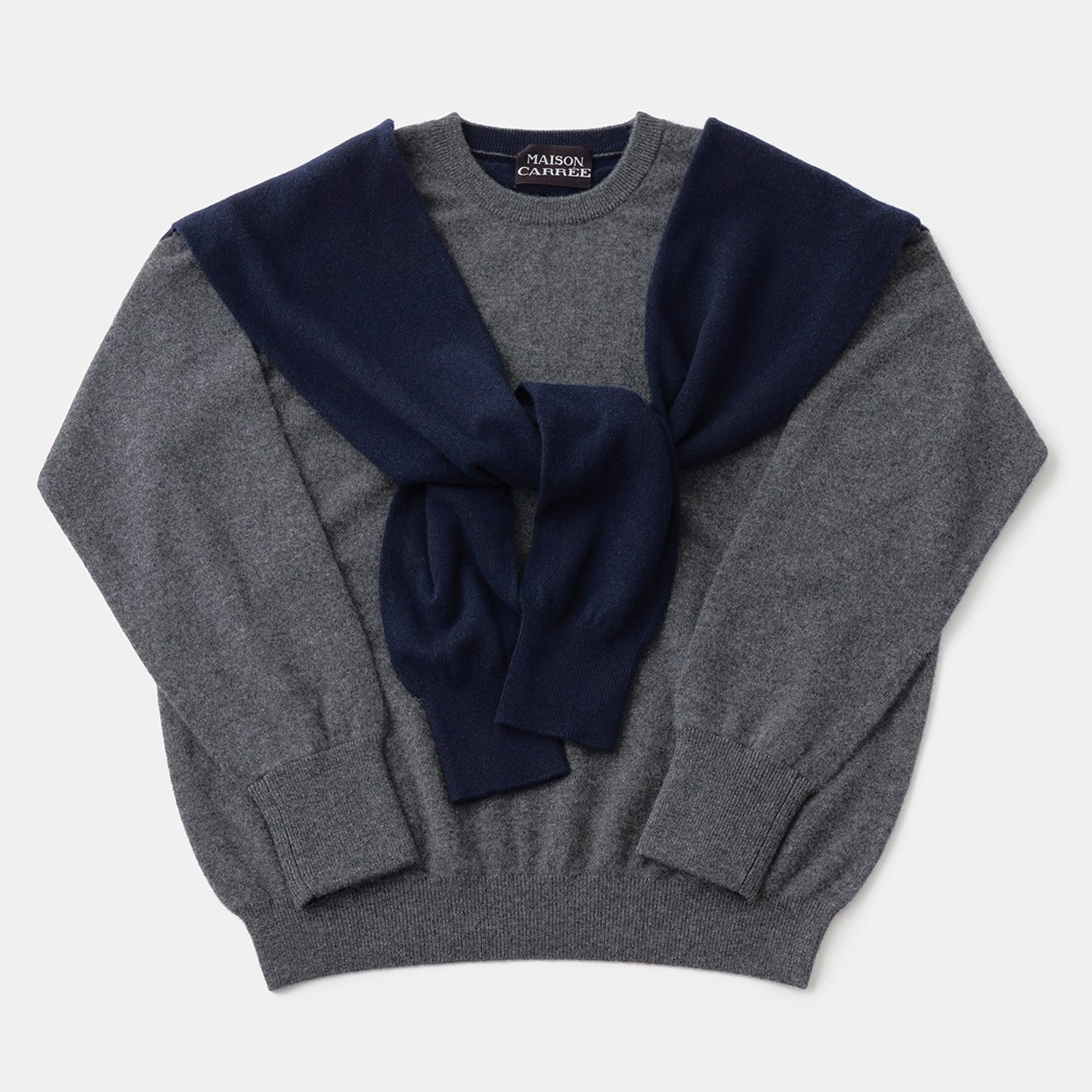 CASHMERE DOUBLE KNIT<BR>GRAY×NAVY
