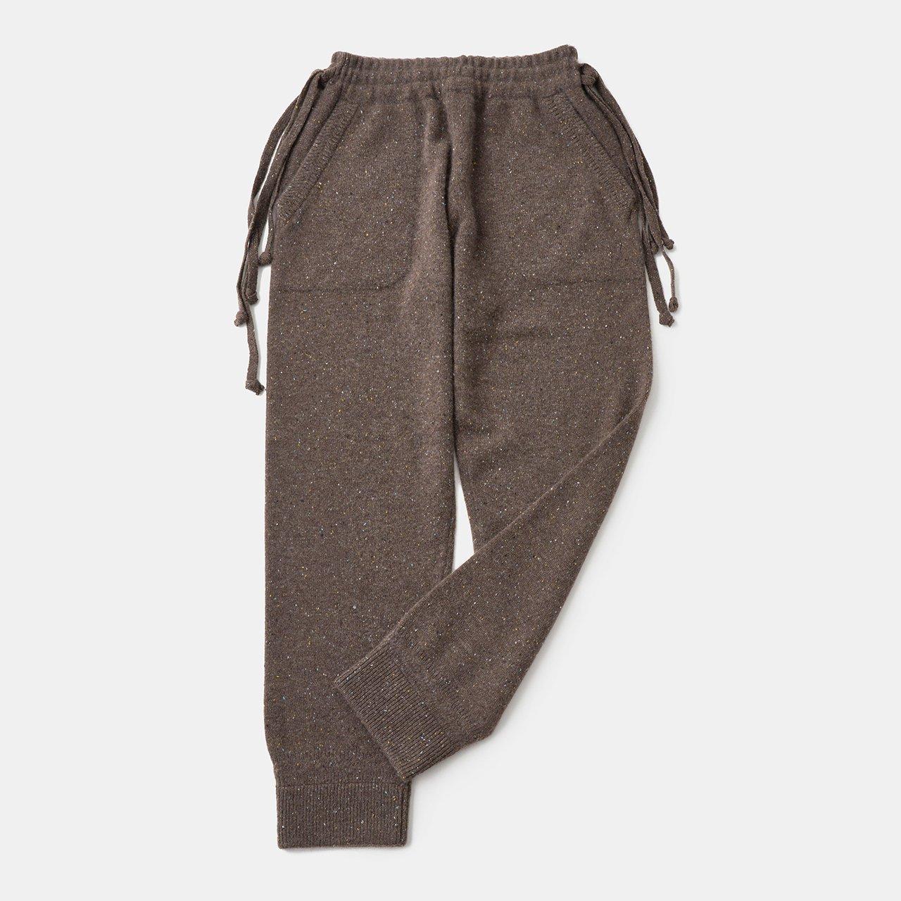 CASHMERE Middle gauge Pants<BR>STARDUST BROWN