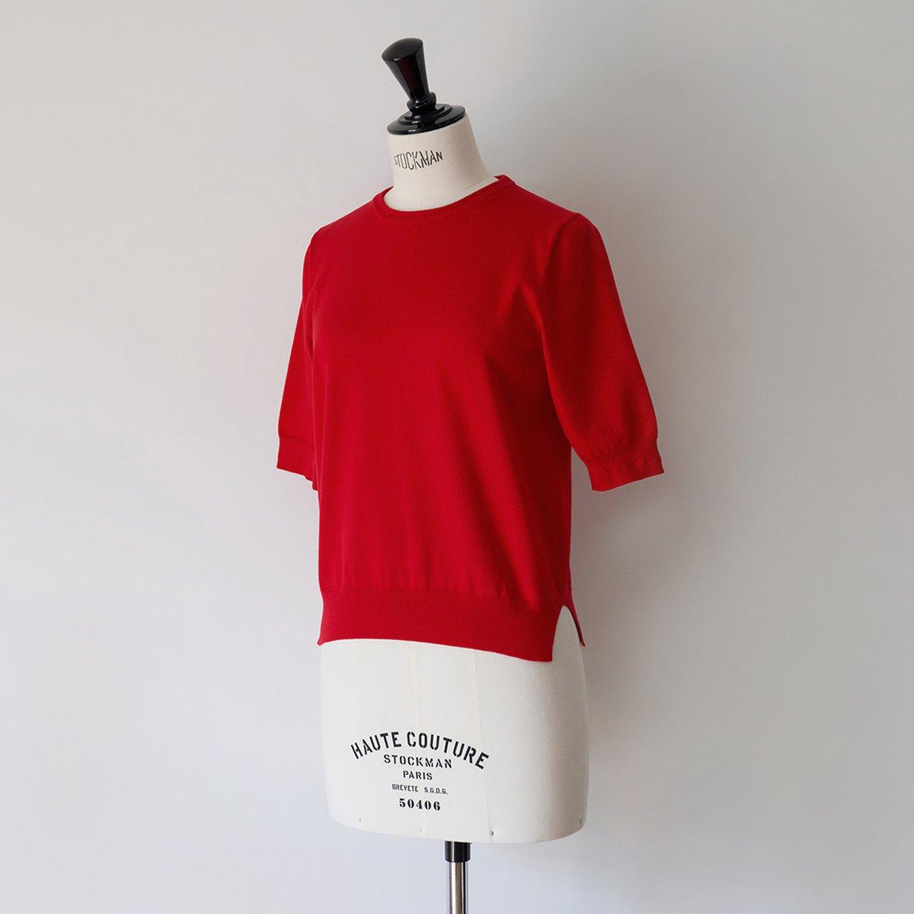 Basic half sleeve knit<BR>RED