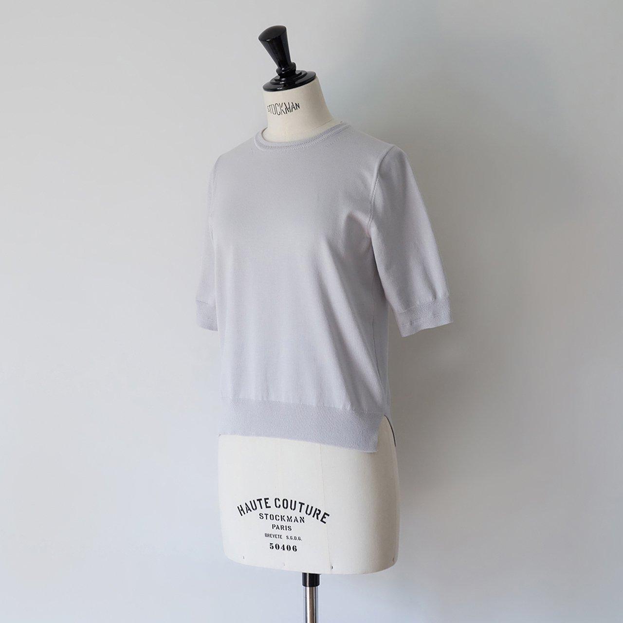 Basic half sleeve knit<BR>PALE JUTE