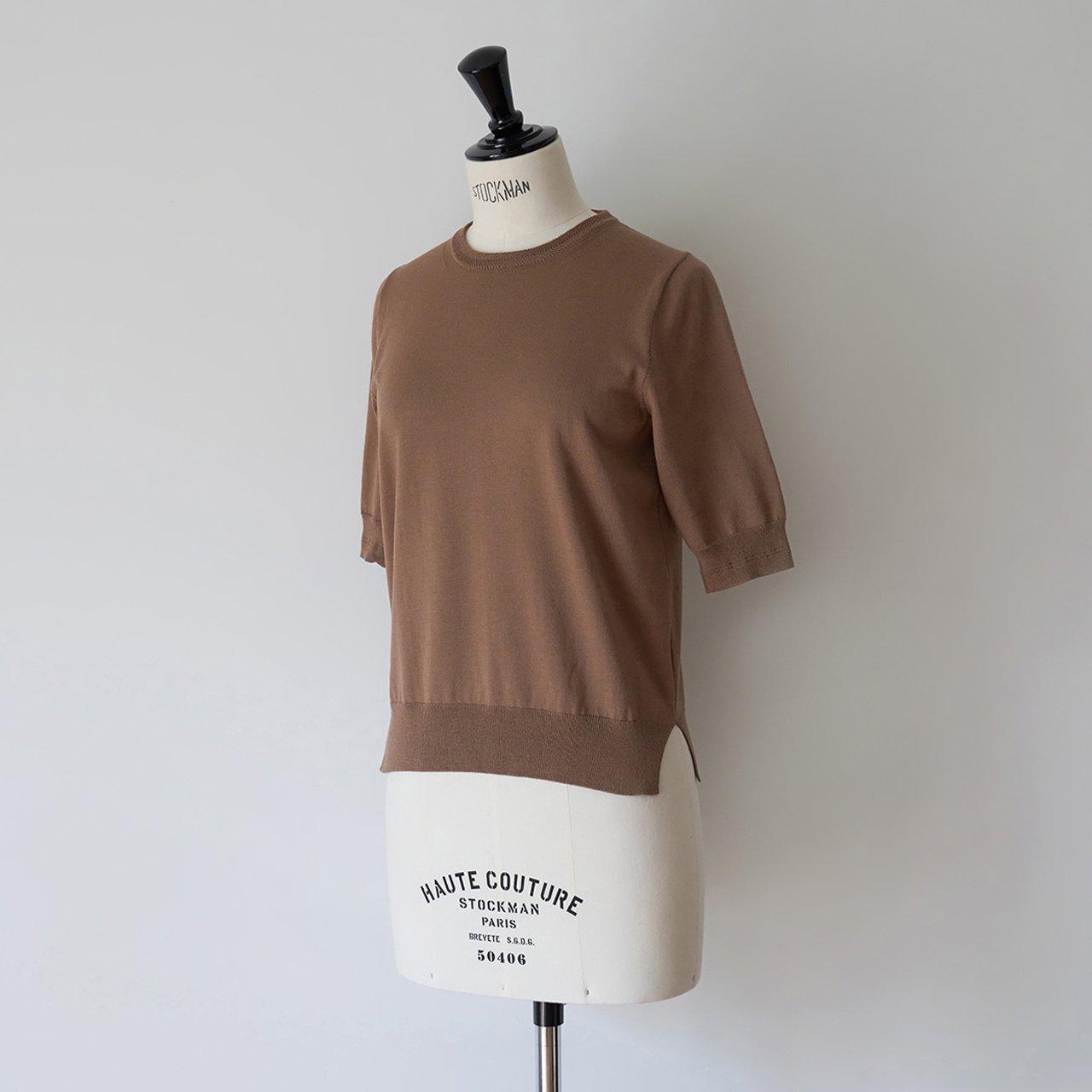 Basic half sleeve knit<BR>MOCHA BROWN