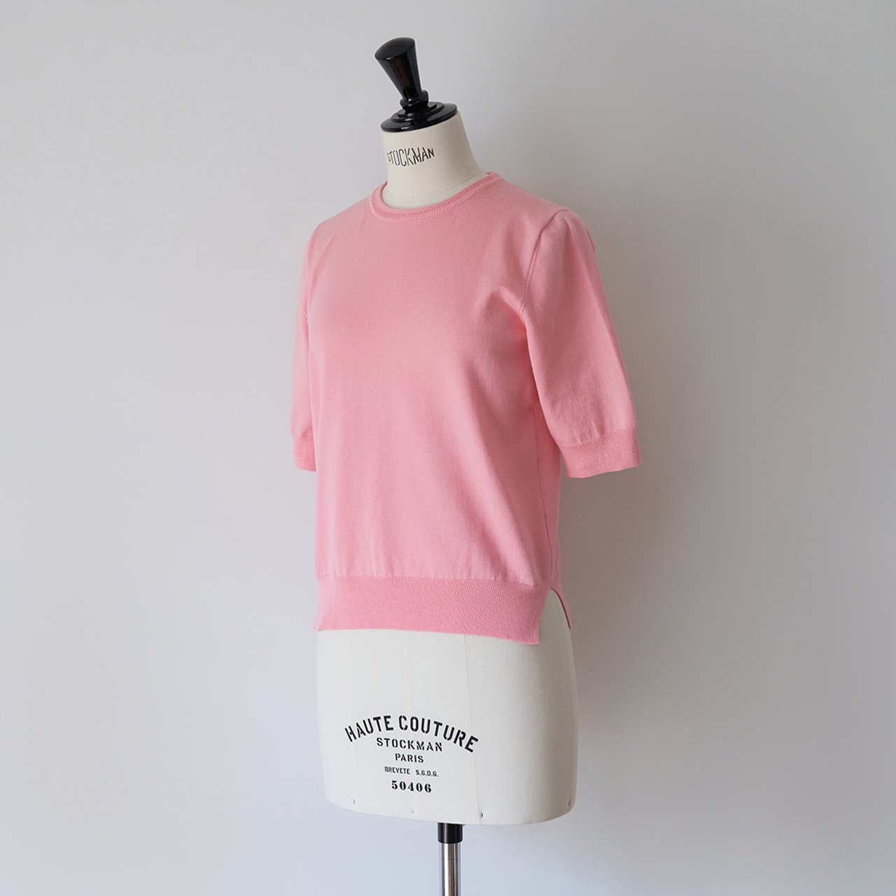 Basic half sleeve knit<BR>PINK