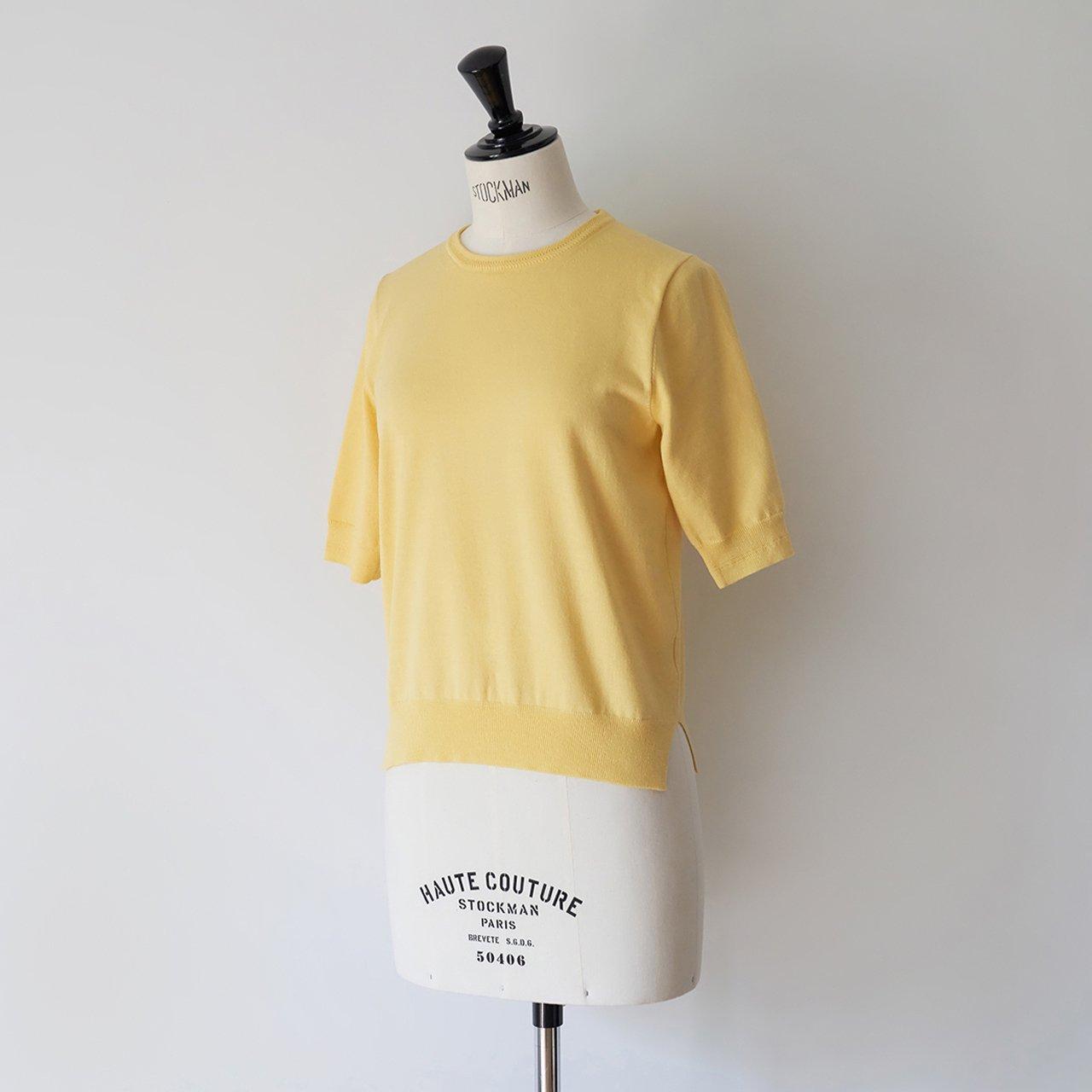 Basic half sleeve knit<BR>YELLOW