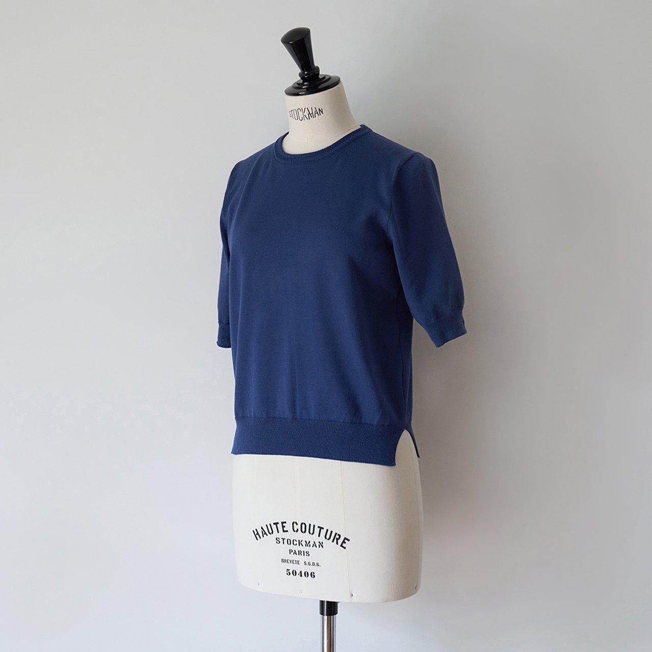 Basic half sleeve knit<BR>DEEP BLUE