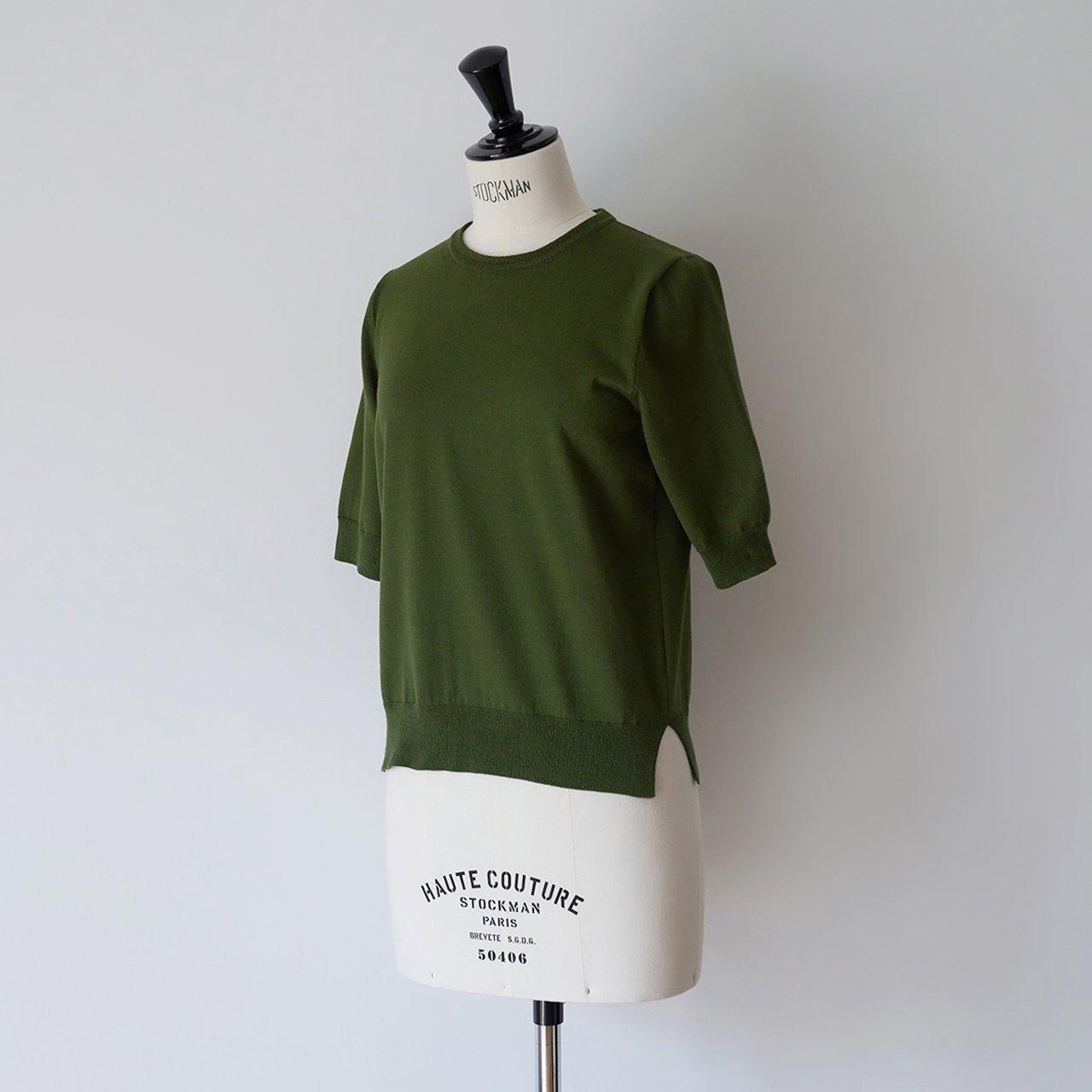 Basic half sleeve knit<BR>DEEP GREEN