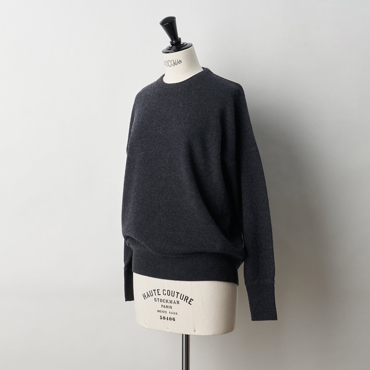 CASHMERE BASIC TOPS<BR>CHARCOAL GREY