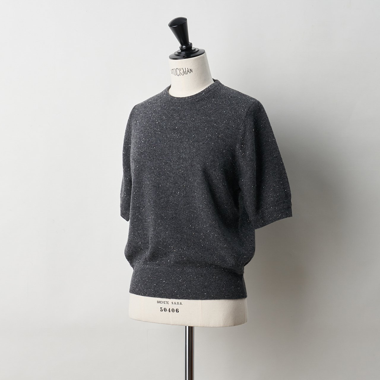 CASHMERE STARDUST HALF SLEEVE TOPS<BR>CHARCOAL