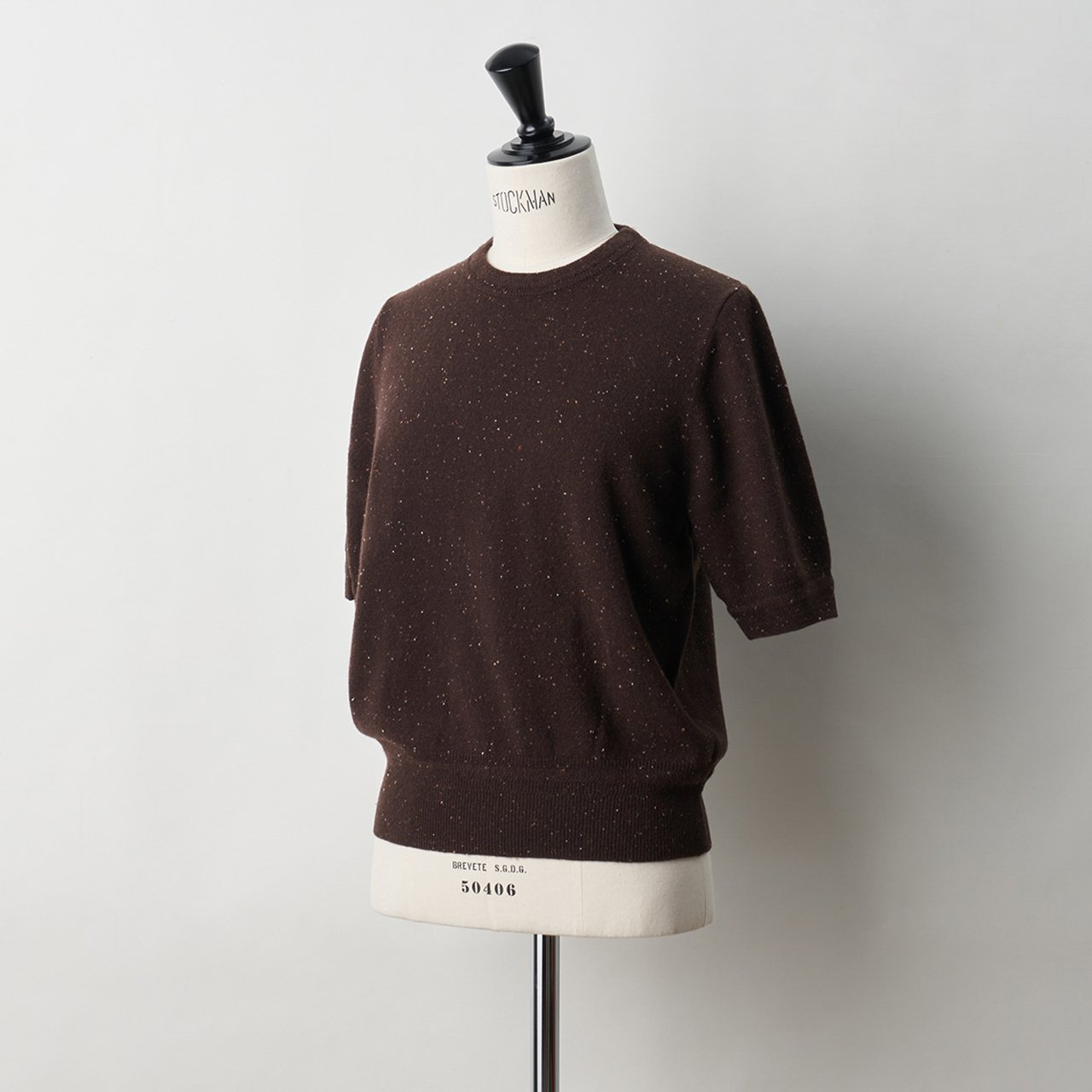 CASHMERE STARDUST HALF SLEEVE TOPS<BR>ALMOND CHOCOLATE