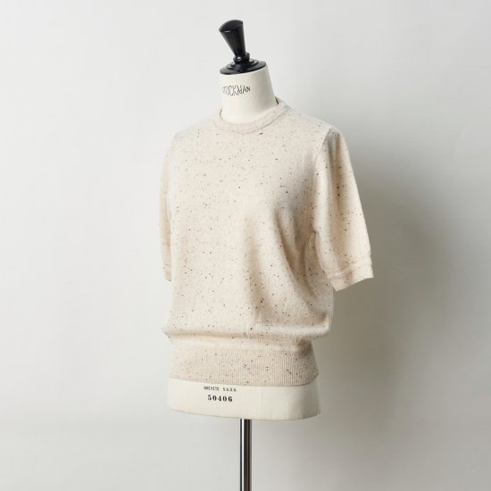 CASHMERE STARDUST HALF SLEEVE TOPS<BR>COOKIE&CREAM