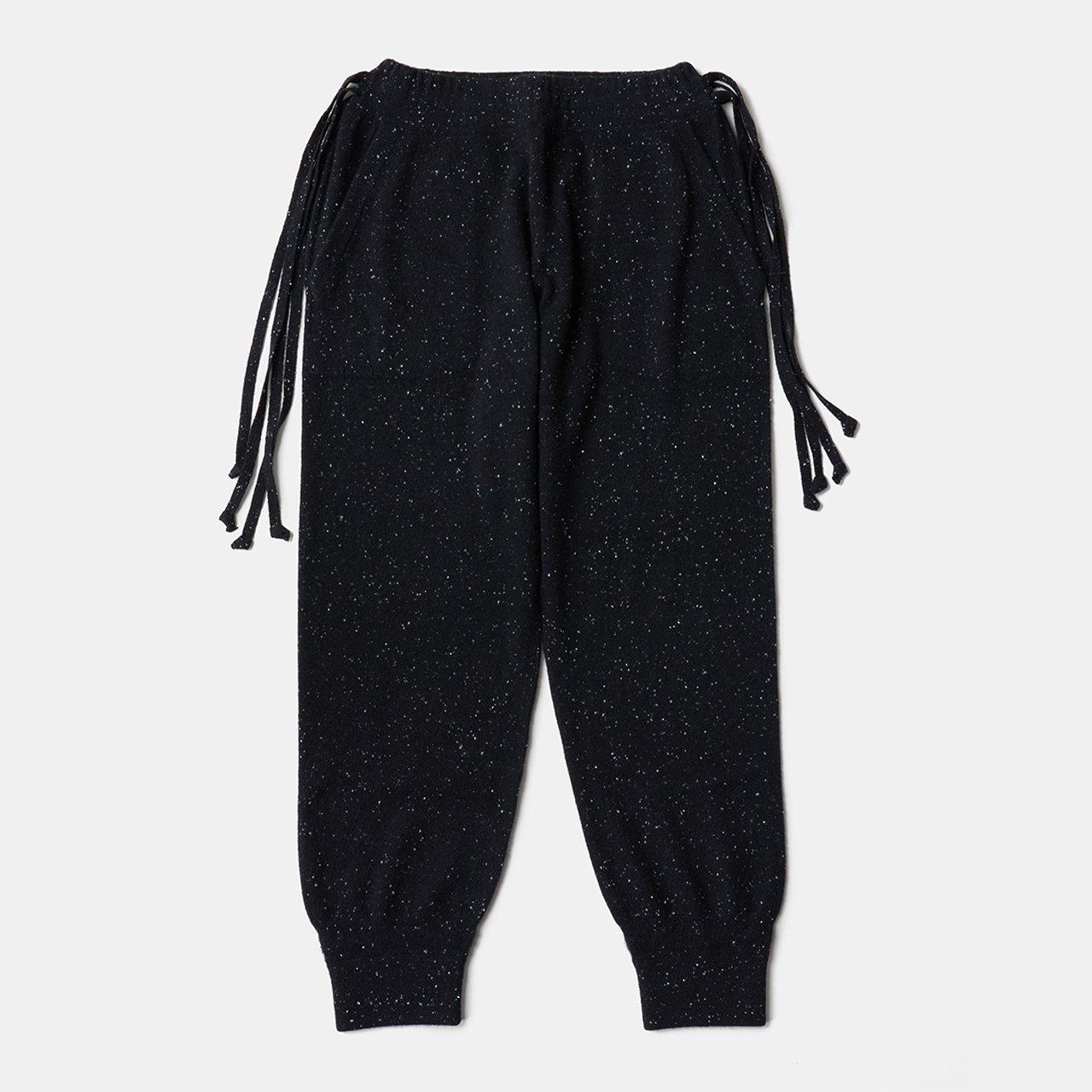 CASHMERE STARDUST BoyFriend PANTS<BR>BLACK