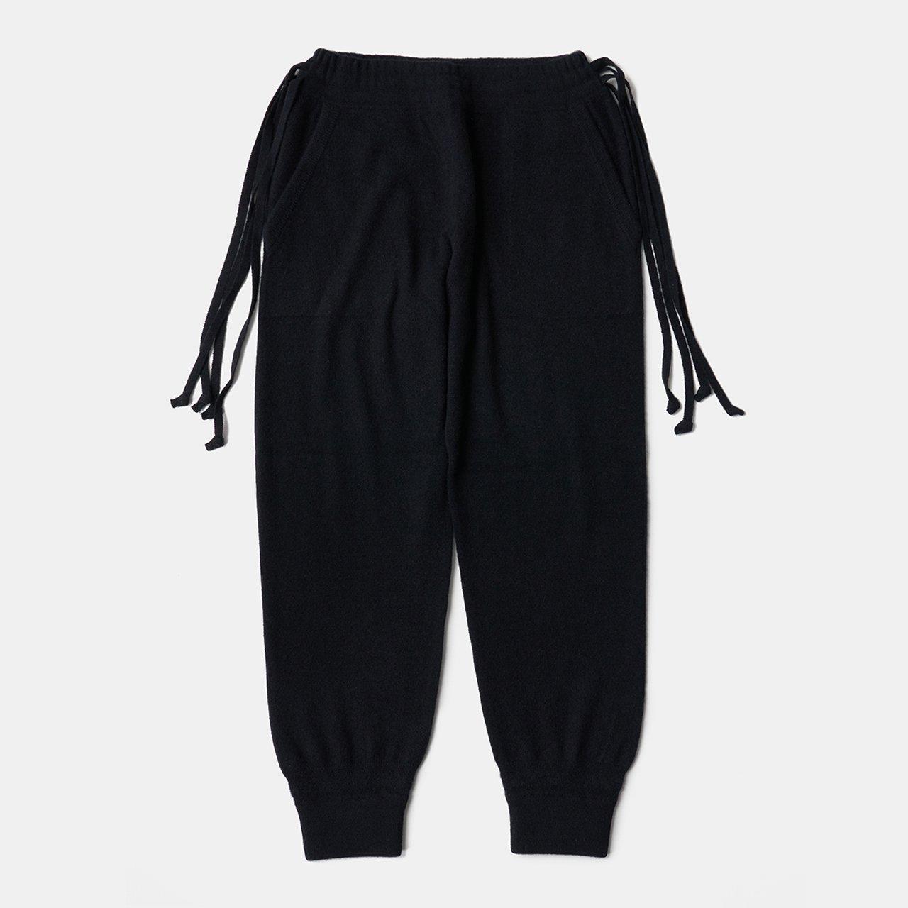 CASHMERE  BASIC BoyFriend PANTS<BR>BLACK