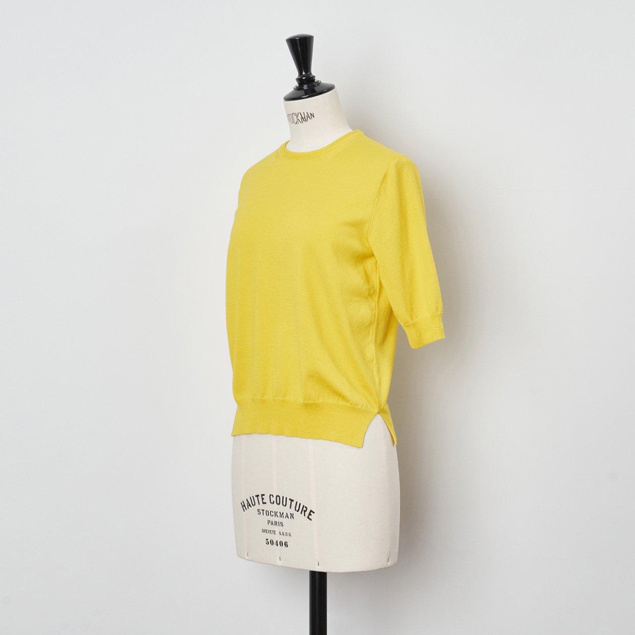 Basic half sleeve knit<BR>CHIC YELLOW