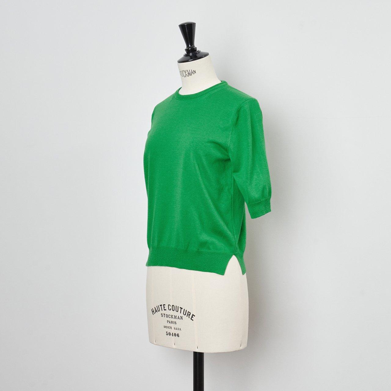Basic half sleeve knit<BR>APPLE GREEN