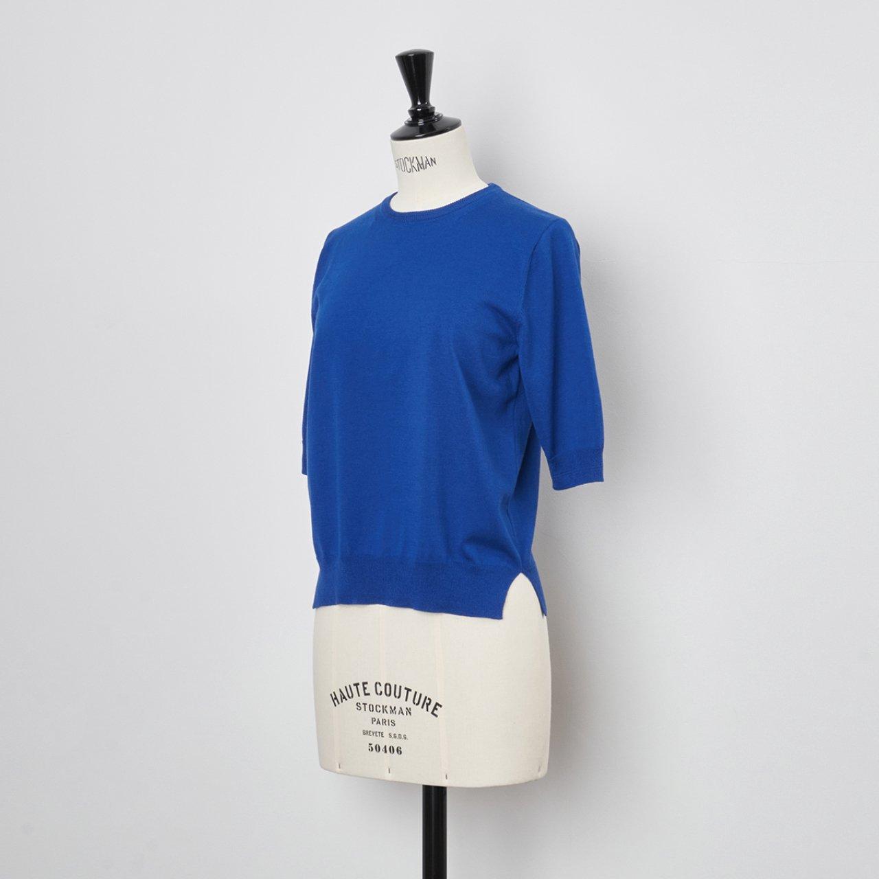 Basic half sleeve knit<BR>LAPIS BLUE