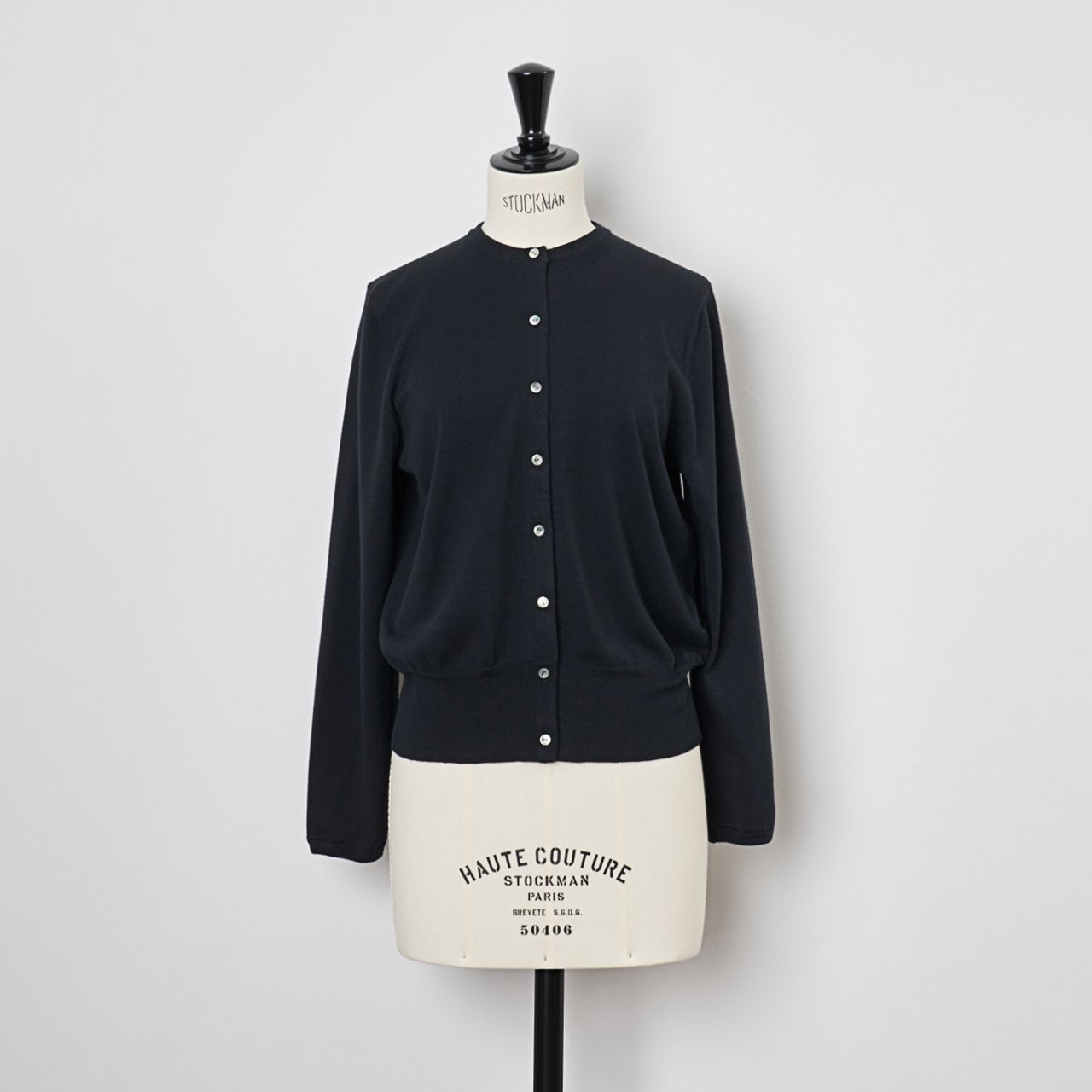 Basic cardigan<BR>BLACK