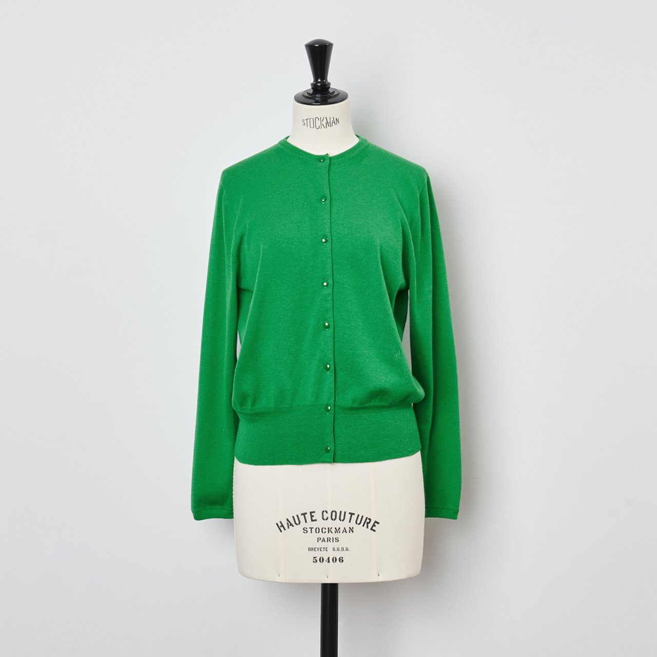 Basic cardigan<BR>APPLE GREEN