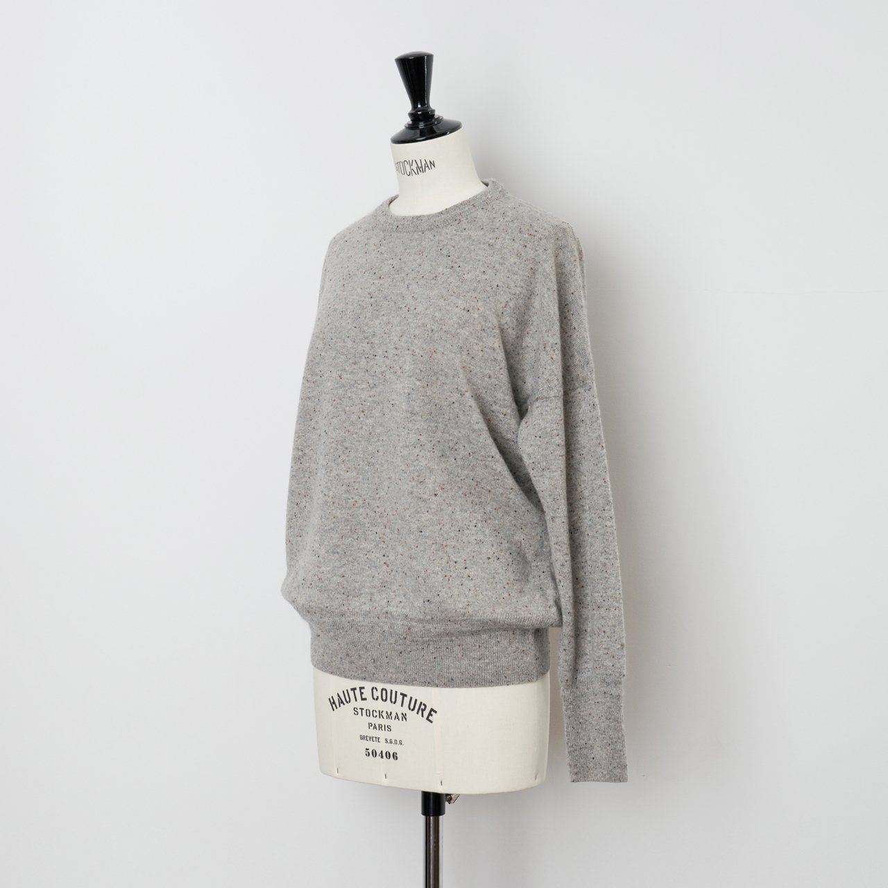 CASHMERE STARDUST TOPS<BR>GRAY
