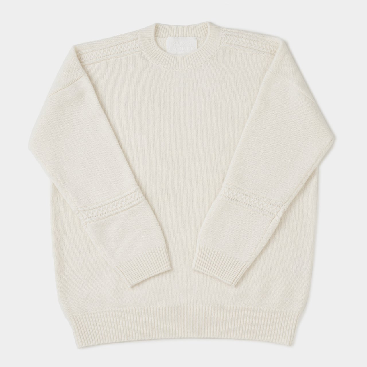 CASHMERE CABLE KNIT<BR>WHITE