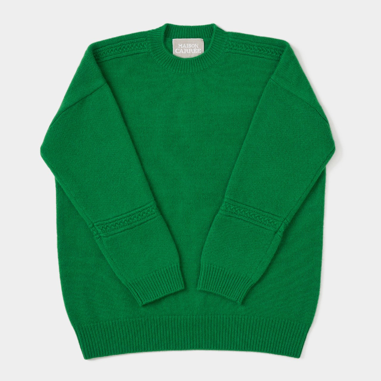 CASHMERE CABLE KNIT<BR>GREEN