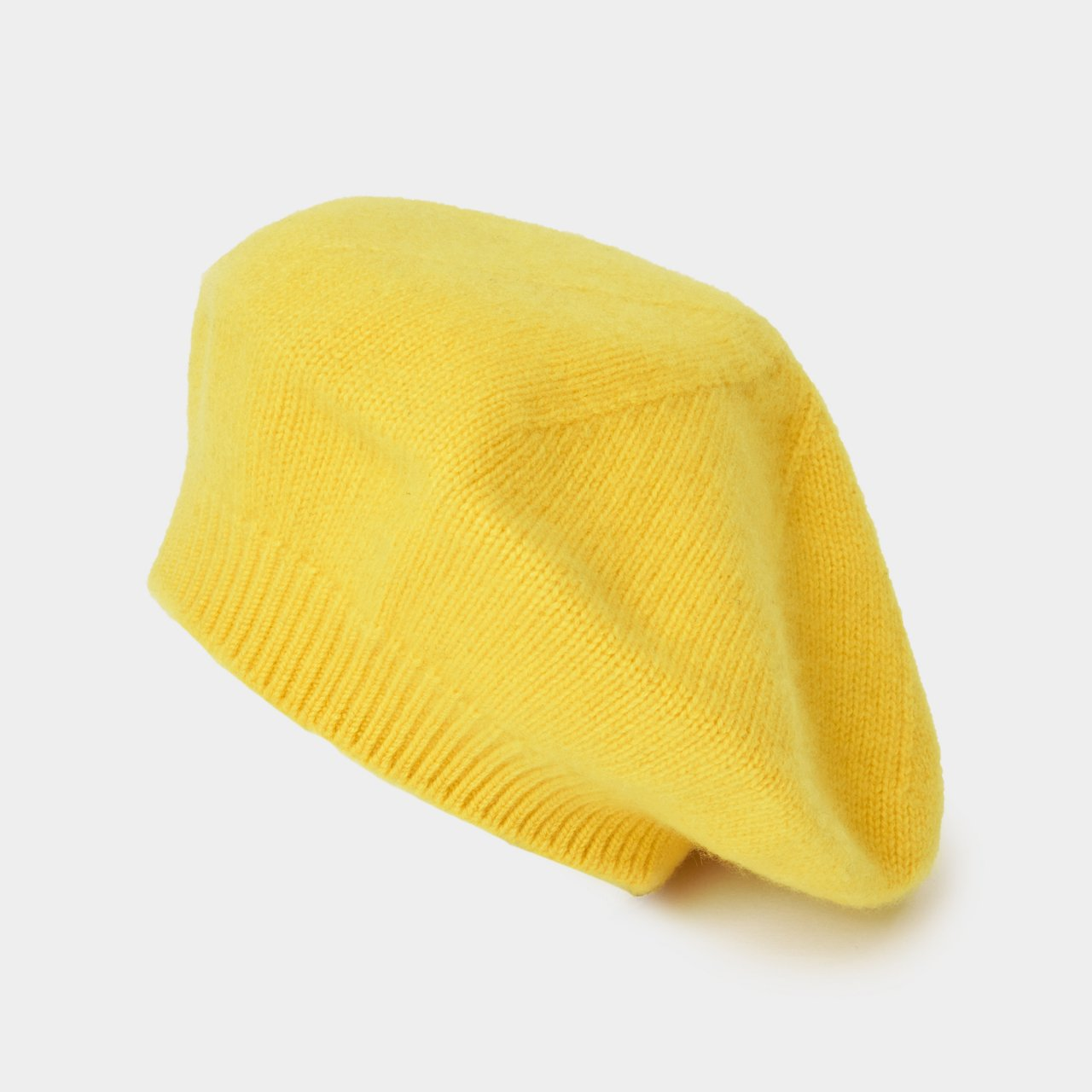 CASHMERE  BERET<BR>YELLOW