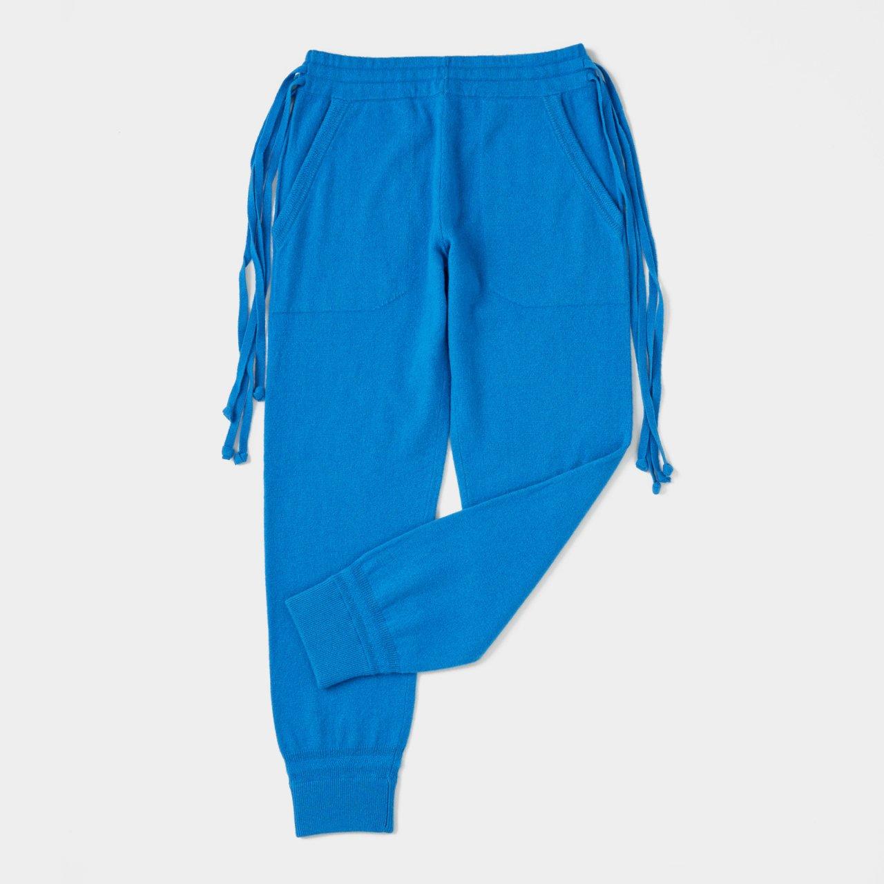 CASHMERE  BASIC BoyFriend PANTS<BR>TURQUOISE