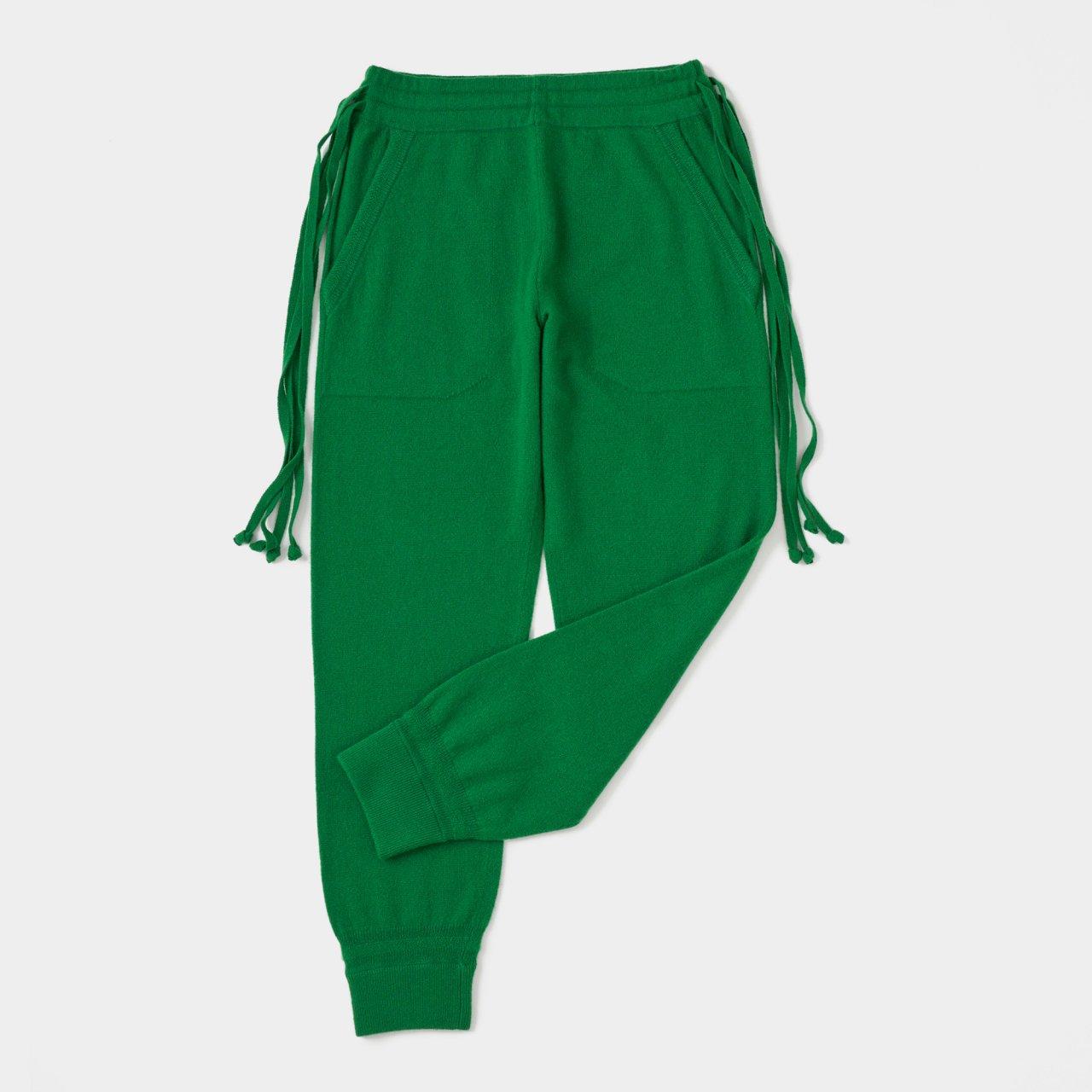 CASHMERE  BASIC BoyFriend PANTS<BR>GREEN