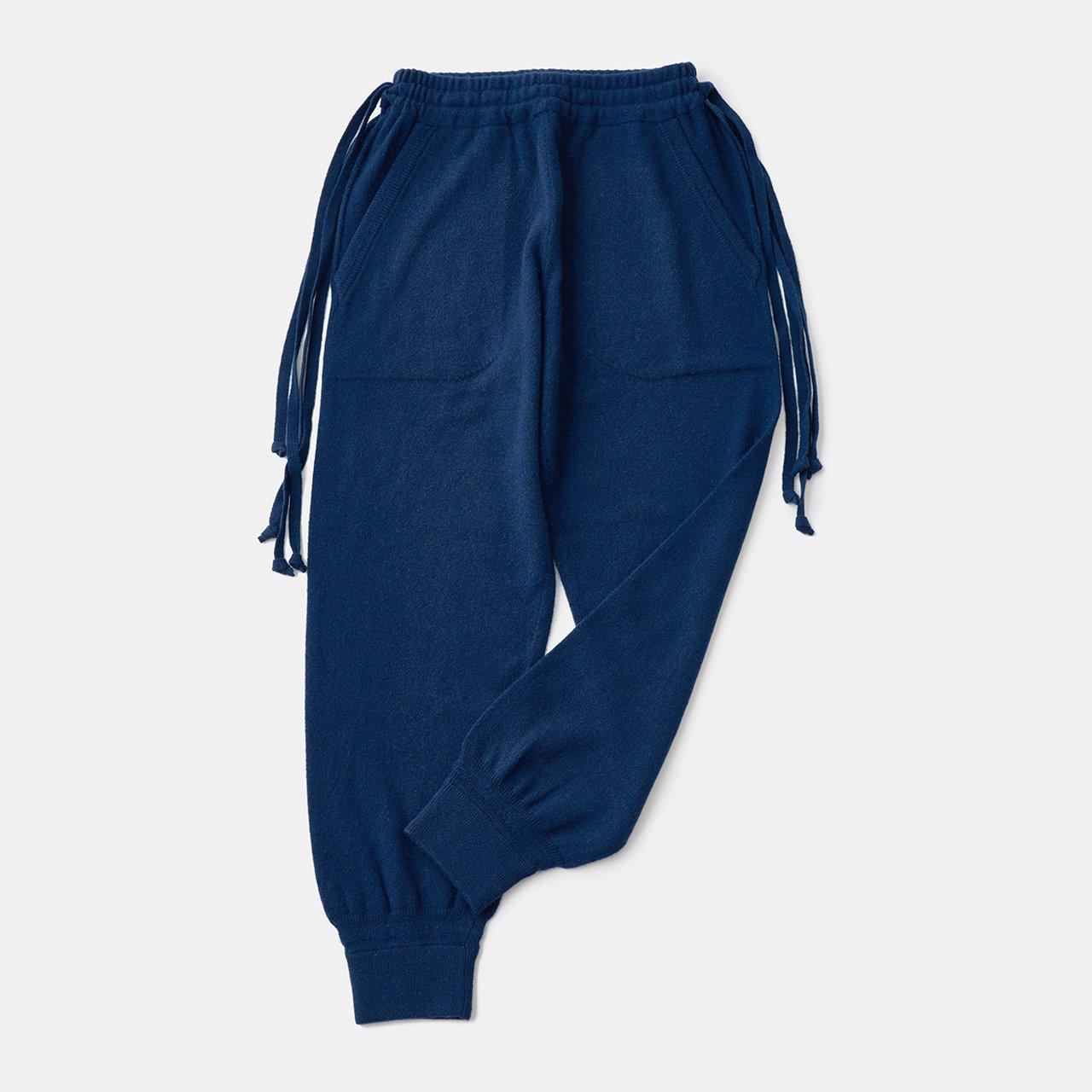 CASHMERE  BASIC BoyFriend PANTS<BR>BLUE