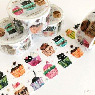 黒猫とカップケーキ マスキングテープ