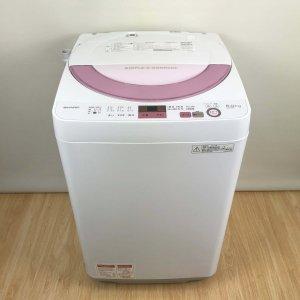 シャープ SHARP ES-GE6A-P 洗濯機 2017年 ピンク系]【中古】