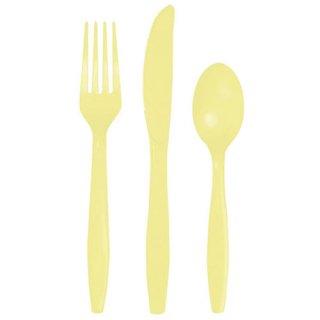 カトラリーセット 24本セット イエロー クリーム プラスチック食器 スプーン・フォーク・ナイフ 3種8人分 ホームパーティー