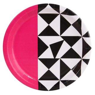 ジオメトリック ピンク 8PCペーパープレート Mサイズ 紙皿 Bold Geometric 幾何学 ホームパーティー