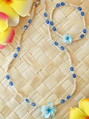 ビーズプルメリアネックレス&ブレス(サザンブルー)